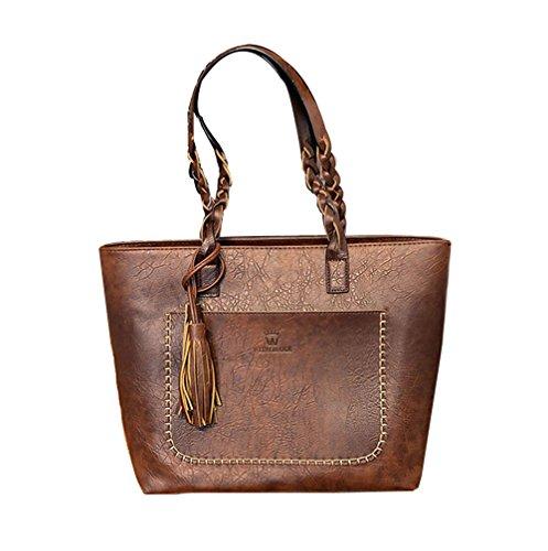 Women Vintage PU Leather Tote Shoulder Bag Handbag Big Large Capacity (Coffee) (Vintage Shoulder Handbag)