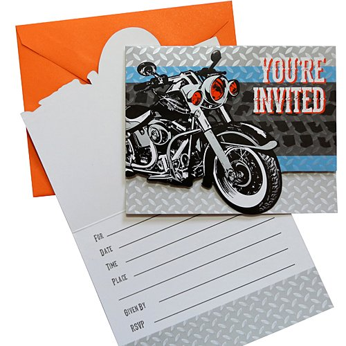 Shop Birthday Invitation (Cycle Shop Foldover Invitations 8 Per Pack)