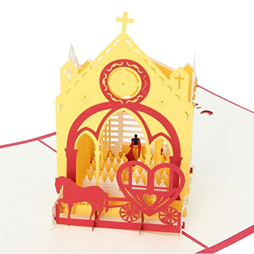 STAR-FIVE-STORE - 3D Pop Up Church Greeting Card Paper Cut Postcard Birthday Valentines Party Wedding Anniversary Invitations Card Gift FES7411