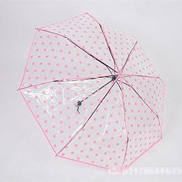 Para mujer diseño de lunares plegable paraguas cúpula de PVC transparente lluvia paraguas sombrilla, rosa
