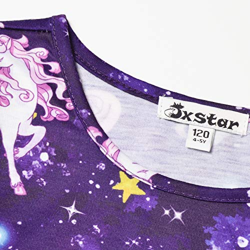 Girls Unicorn Dresses Long Sleeve Kids Starry Sky Casual Cotton Dress Outfits by Jxstar (Image #4)