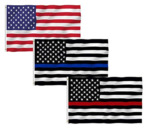 US Flag Thin Blue Line Thin Red Line Flag, TOWEE 3 Pack 3x5 Ft 100% Polyester USA America Stars and Stripes Flag Thin Blue Line Thin Red Line Flags Bright Colors USA Flags For Christmas and Halloween