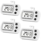 fridge and freezer thermometer - 4 Pack Digital Refrigerator Freezer Thermometer,Max/Min Record Function with Large LCD Display