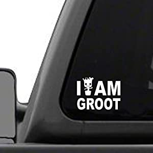 """Signage Cafe I Am Groot – 4"""" Wide x 3"""" Tall, Vinyl Decal - for Windows, Cars, Trucks, Tool Boxes, laptops and Tablets"""
