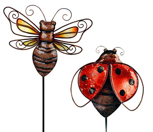 - OBI Metal Insect Garden Stake or Wall Decor 2pk Ladybug and Bee Small Yard Pick for Patio Outdoor Yard Decorations