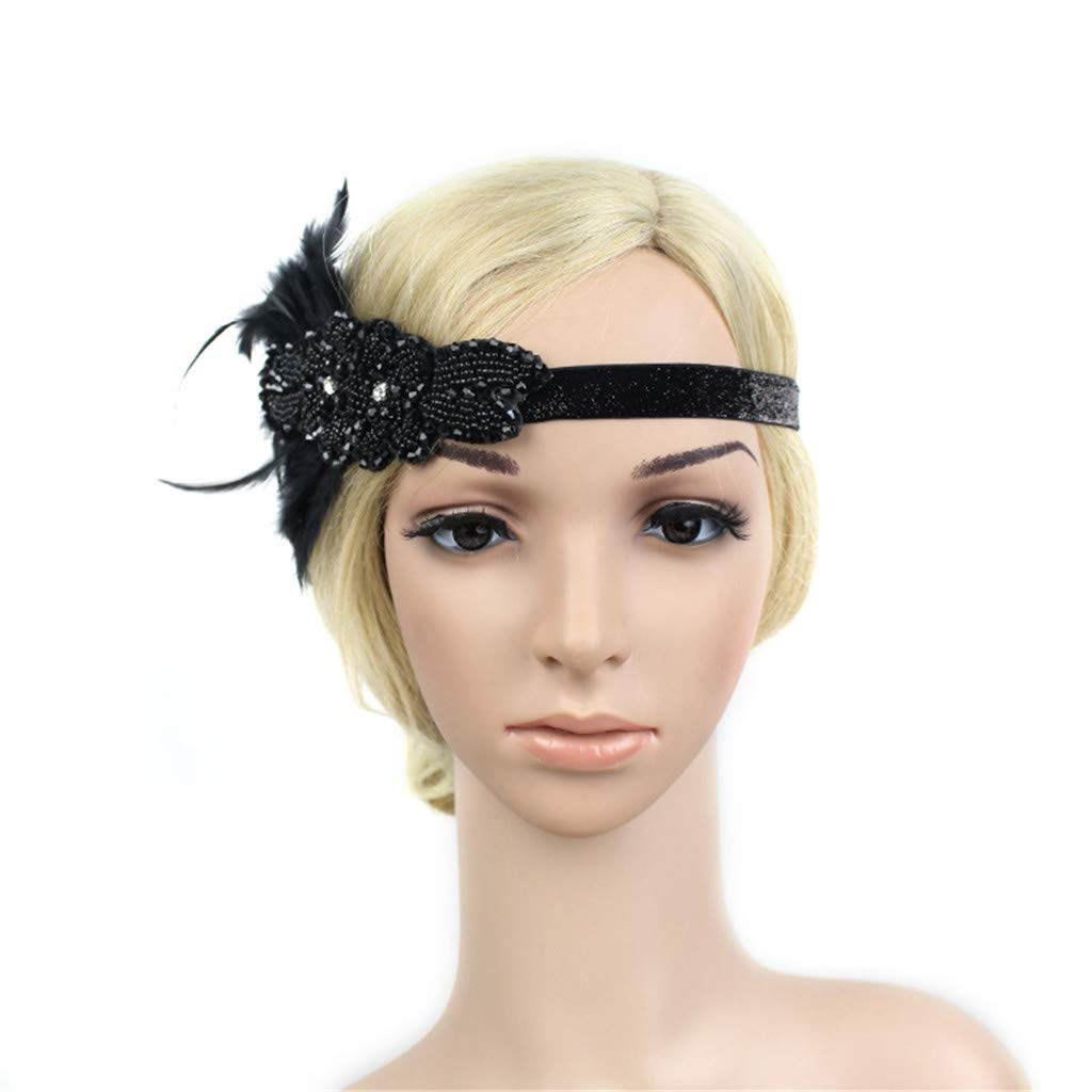 Sruiluo Women`s Headband Flapper Feather Crystal Beaded Elegant Headpiece 2 Choices