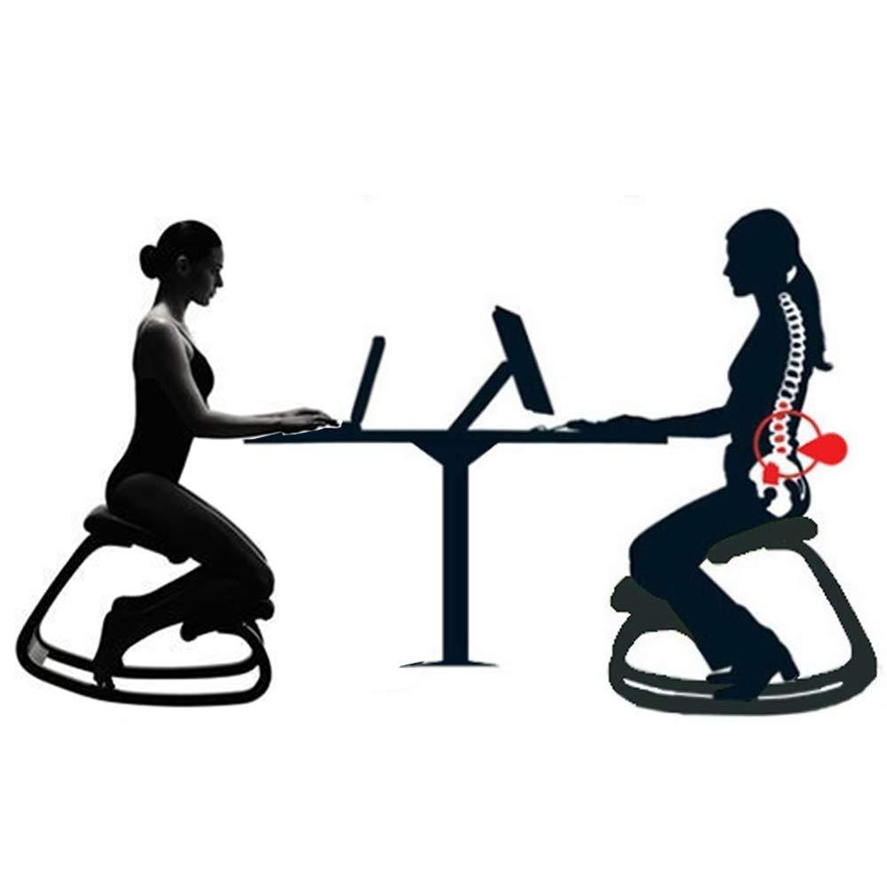 Legno massello AMZ BCS Sedia in Ginocchio prevenire gobba Sedia Sedia da Ufficio a casa Design ergonomico Robusto e Confortevole,Red