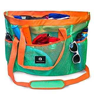 Red Suricata Large Mesh Beach Bag – Mesh Beach Tote Bag with Pockets - Beach Bags and Totes for Women with YKK Zipper & 7 Large Elastic Pockets for Beach Accessories & Beach Toys (Turquoise/Orange)