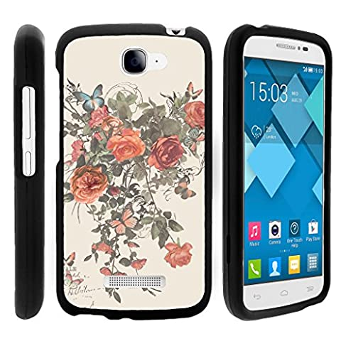 Snap On Case for Alcatel One Touch Fierce 2 7040T , Slim Fit Snug Rubberized Custom Unique Image Cover Shell Black with Designs Pop Icon A564C By TurtleArmor | 2 in 1 Combo Includes Clear Screen Protector and Case - Elegant (Alcatel Android 4g Fierce 2)