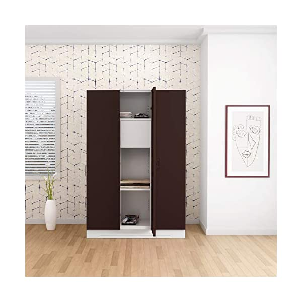 GODREJ INTERIO Slimline 3 Door Steel Almirah with Locker in Russet 2021 August Dimensions W x H x D (cm): 134.9 x 195 x 50.7 / Primary Material: Mild Steel / Delivery Condition :Knock Down / Free Assembly Provided Sleek Design:The furniture with which you furnish your home reflects your style and sensibilities. The sleek Slimline Wardrobe adds style points to your bedroom. Durable CRCA Steel Construct :CRCA Steel has stood the test of time and durability. This is why the Slimline Wardrobe excels in both, giving a piece that is strong and long-lasting.