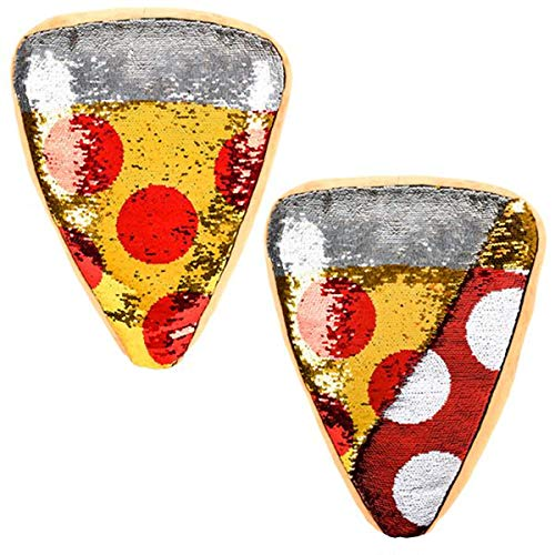 Pepperoni Pizza Slice - Forest & Twelfth Pizza Slice Throw Pillow ~ Reversible Sequin ~ Beautifully Colored Plush Pepperoni Pizza Slice Shaped Cushion