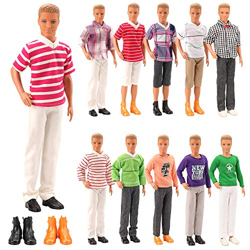 (Mylass Lot 8 Items Clothes for Ken Doll EU CE-EN71 Certified Include 3 Sets Casual Wear + 3 Pcs Dolls Pants +2 Shoes )