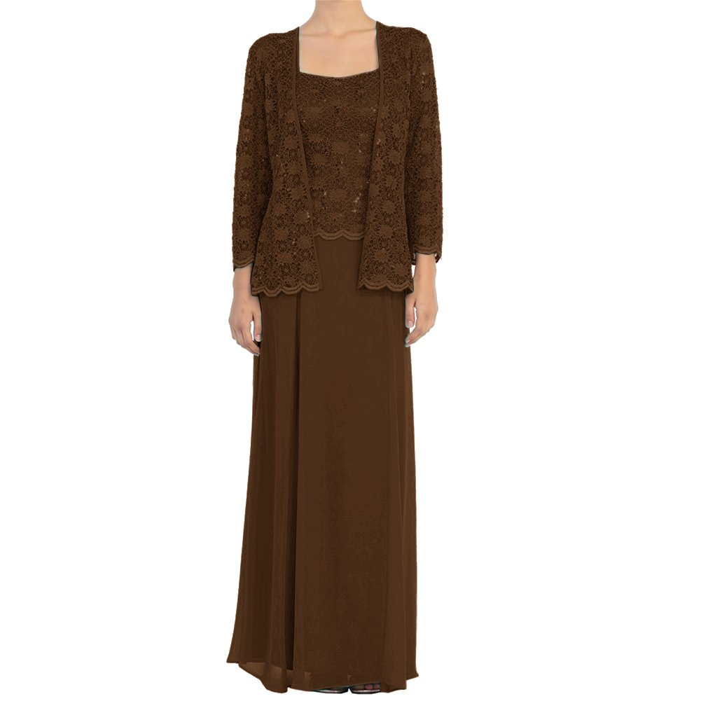 Brown H.S.D Mother of The Bride Dress Lace Long Formal Gowns with Jacket