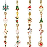 WAYA 16pcs Enamel Merry Christmas Dangles Pendants Silver Charms European Beads for Bracelet Chain