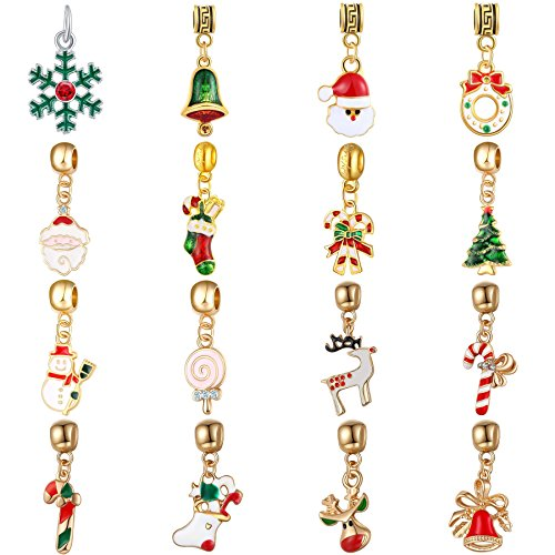 WAYA 16pcs Enamel Merry Christmas Dangles Pendants Silver Charms European Beads for Bracelet - Dangle Pendant Enamel Charm