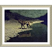 "Alonline Art - Moonlight Wolf Frederic Remington Biege FRAMED POSTER (Print on 100% Cotton CANVAS on foam board) - READY TO HANG | 31""x24"" 
