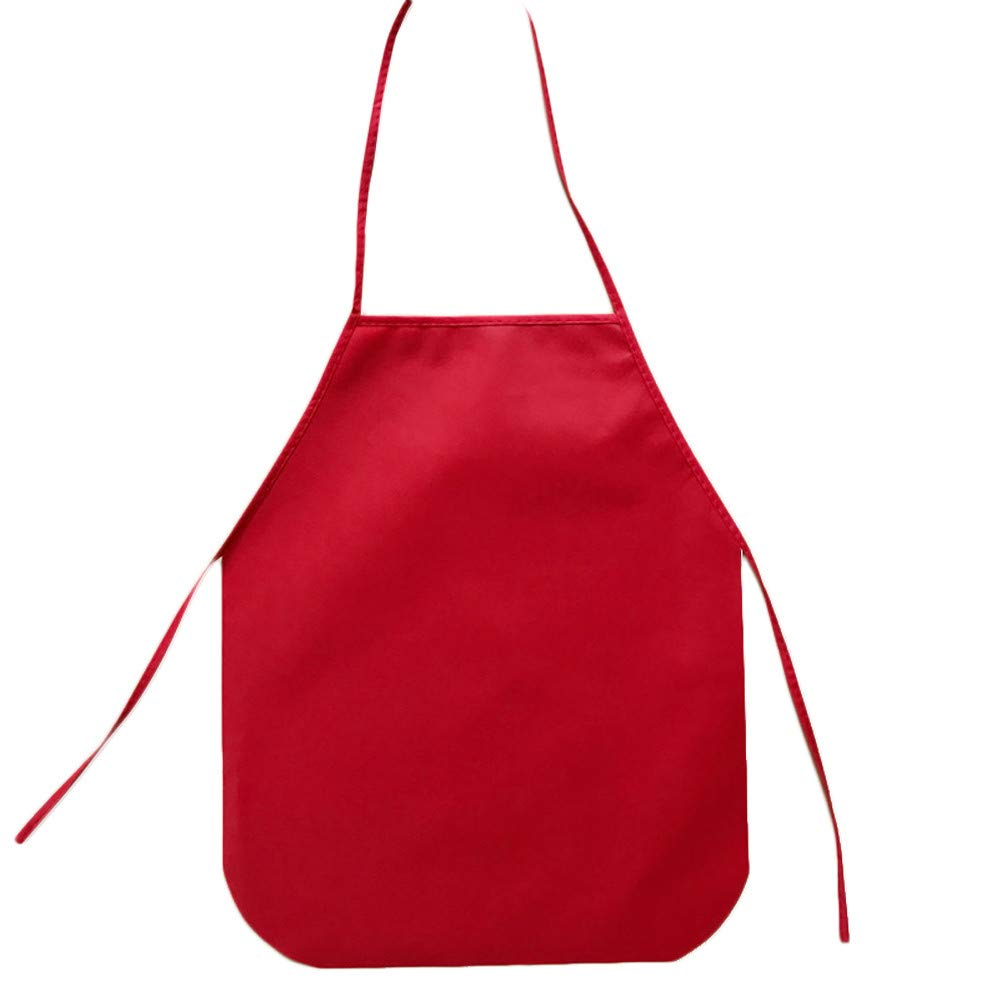 SHJNHAN 40x50cm Children Waterproof Cartoon Kitchen Cooking Bib Apron Paint Eat Drink Outerwear (Red)