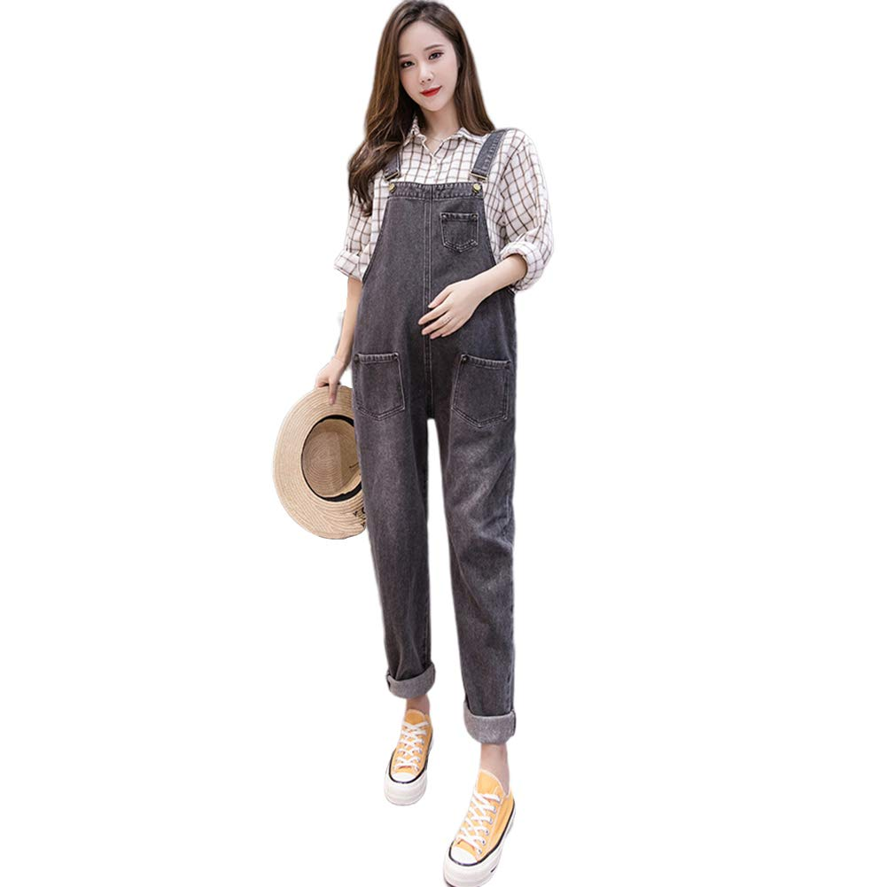 Buy Xuba Maternity Pregnant Women Denim Loose Pants Jumpsuit Solid Color Rompers With Pocket Black M At Amazon In
