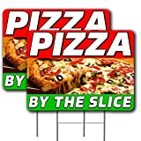 """2 Pack Pizza by The Slice Yard Sign 18"""" x 24"""" - Double-Sided Print, with Metal Stakes 841098186807"""