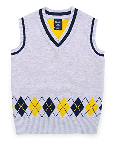Infant Boys Sweater Vest Wool Blend Rhombus Pattern Deep Neck Warm Breathable Waistcoat 2-3T White