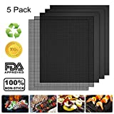 Vivibel 5 Pack BBQ Grill & Mesh Mats,100% Non-stick 3 Grill Mats and 2 Mesh Mats for Steaks,Vegetables, Fish, Shrimp,FDA-Approved, Reusable and Easy to Clean,15.75 x 13 Inch