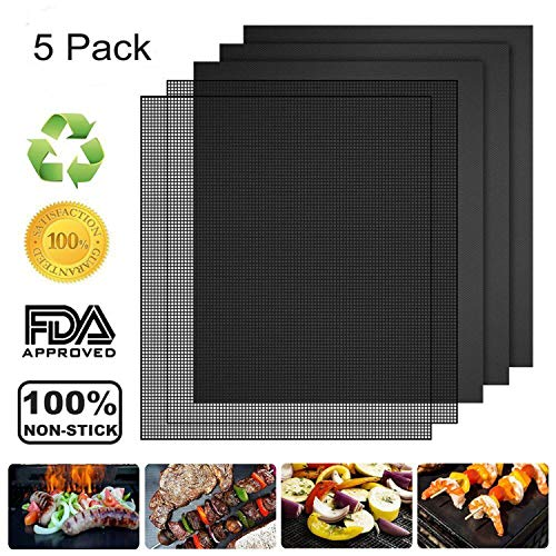 Replacement Pan Water (Vivibel 5 Pack BBQ Grill & Mesh Mats,100% Non-stick 3 Grill Mats and 2 Mesh Mats for Steaks,Vegetables, Fish, Shrimp,FDA-Approved, Reusable and Easy to Clean,15.75 x 13 Inch)