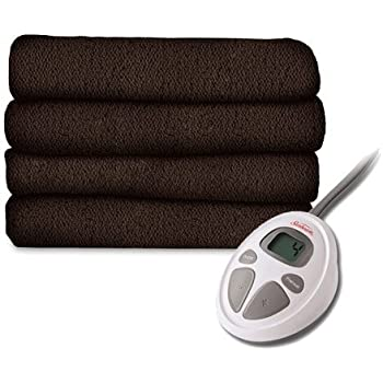 Sunbeam LoftTec Ultra Soft Electric Heated Blanket, Twin Size Walnut
