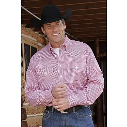 Miller Ranch Men's Checker Long Sleeve Western Dress Shirt Red ()