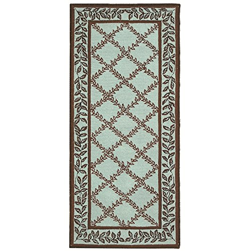 [Safavieh Chelsea Collection HK230J Hand-Hooked Blue and Brown Premium Wool Area Rug (2'6