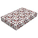 Lunarable Horseshoe Dog Bed, Horseshoe with Rose Swallow Hearts Ropes Foral Ornamental Tattoo Style Art, Durable Washable Mat with Decorative Fabric Cover, 48'' x 32'' x 6'', Ruby Blue Grey