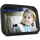 OMORC Baby Car Mirror【Upgraded 360° Adjustable 100% Shatterproof】Large Rear View Car Mirror for Baby in Travel, Black