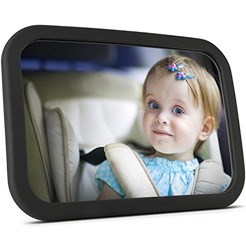 Back Seat Baby Car Mirror for Rear View - Extra Large - Facing Back Seat for Infant Toddler Child in Car Seat- 100% Shatterproof -360 Adjustable & Double Straps