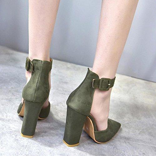 Sikye Womens Fashion High Heels Shoe Flock Buckle Strap Block Party Singel Shoes Green wTnJNALW9f