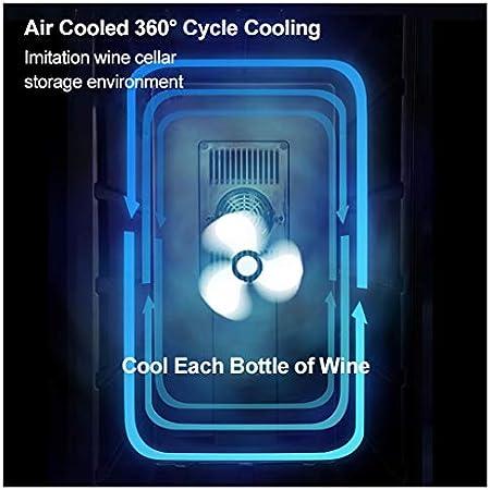 LLZH Mini Vinoteca de 8 Botellas, Refrigerador Termoeléctrico de Bodega, Nevera de Vino de Humedad Constante de Encimera Pequeña, Estantes de Madera, Puerta de Vidrio, Negro