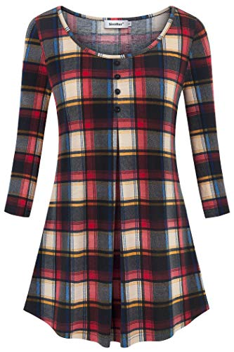 Sixother Ladies Checked Tops and Blouses, Popular Trim Layered Patchwork Ruffle Performance Texture Exercise T Shirt Full Sleeve Casual Tee Tunic for Summer Tartan Checkered Undershirts