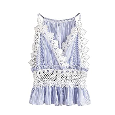 Highpot Women Fashion Lace Stripe Floral Crop Tank Top Cami Vest Top Blouse