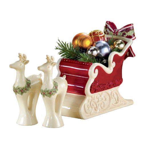 Grasslands Road Holiday Presents 7-Inch by 3-Inch-1/2-Inch by 6-1/2-Inch Sleigh Candy Dish, Reindeer Salt and Pepper Gift Set, 3 Piece (7 Inch Candy Dish)