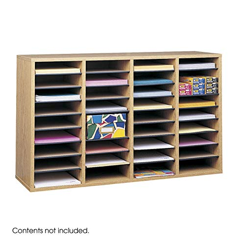 Safco Products Wood Adjustable Literature Organizer, 36 Compartment 9424MO, Medium Oak, Durable Construction, Removable Shelves, Stackable (Renewed)