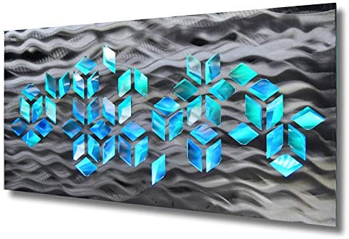 LED Lighted Geometric Large Silver Metal Wall ArtImpulse Sculpture Color Changing Light