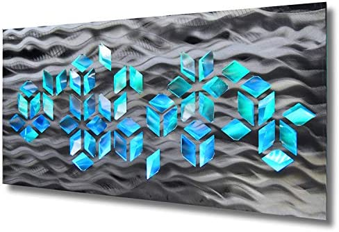 "LED Lighted Geometric Large Silver Metal Wall Art ""Impulse"" Sculpture Color Changing Light"