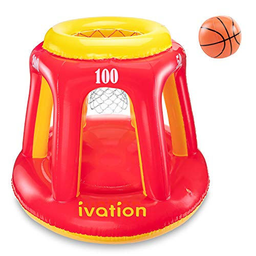Ivation Inflatable Floating Basketball Hoop & Blow Up Ball for Swimming Pool & Water Sports - Exciting, Fun Summertime Water Game for Players of All Ages - 36