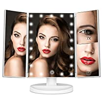 [2018 New Version] MayBeau LED Lighted Vanity Makeup Mirror with 7x and 5x Magnification,21 Dimmable Natural Lights, Touch Screen,Best Countertop Cosmetic Mirror