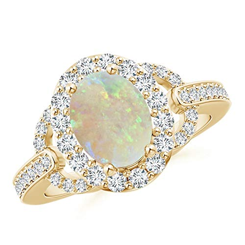 Vintage Style Oval Opal Halo Ring in 14K Yellow Gold (9x7mm Opal)