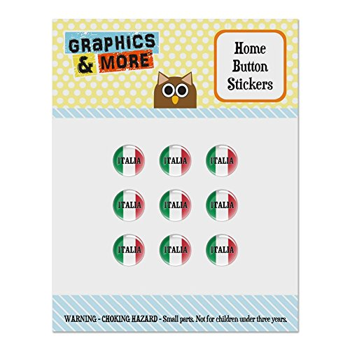 Italia Italy Italian Flag Set of 9 Puffy Bubble Home Button Stickers Fit Apple iPod Touch, iPad Air Mini, iPhone 5/5c/5s 6/6s 7/7s Plus (Pompeii Mini)