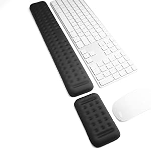 Keyboard and Mouse Wrist Rest Set Gaming Memory Foam Ergonomic Hand Palm Rest Support for Computer, PC, Laptop, Mac Typing and Wrist Pain Relief and Repair (17.3 Inch, Black)