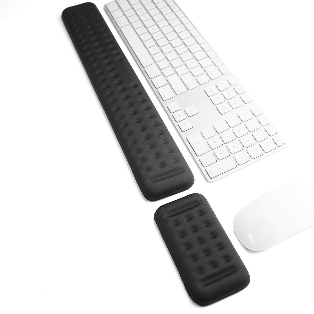 Keyboard and Mouse Wrist Rest Set Gaming Memory Foam Ergonomic Hand Palm Rest Support for Computer, PC, Laptop, Mac Typing and Wrist Pain Relief and Repair (17.3 Inch, Black) by Yicaihong