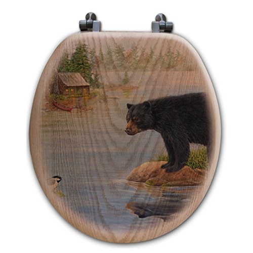 Misty Morning Bear Wood Toilet Seat - Round - Lodge Bath - Rack Coat Woodland Oak