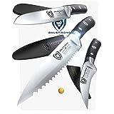 "DALSTRONG Paring Knife Set - Gladiator Series - Sheaths - 3.75"" Sheep's Foot - 2.75"" Bird's Beak - 3.5"" Serrated - Pakkawood Handle"