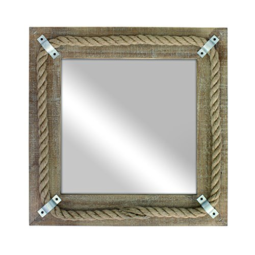 Stonebriar Square Wooden Mirror with Nautical Rope Detail, Beachside Home D cor for Kitchen, Living Room, Bathroom, and Hallway
