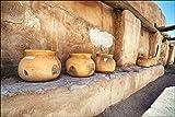 Ceramic pots on shelf of adobe walled building at the historical Southwest Spanish Tumacacori mission in Arizona. Great art decor gift